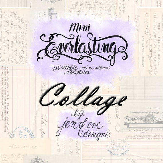 Mini Everlasting Printable Mini album Template in Collage and PLAIN