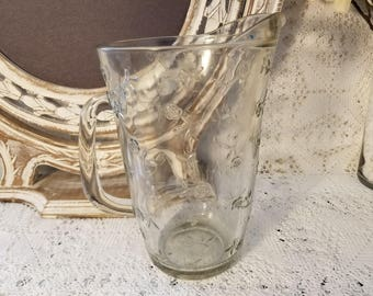Anchor Hocking clear glass pitcher with embossed flowers
