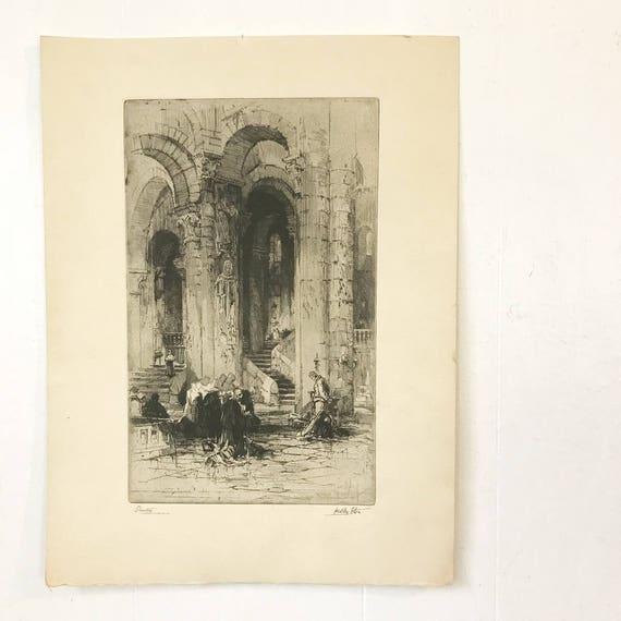 vintage Talio Chrome etching print - Devotion - Hedley Fitton - Saint Helaire Poitiers - religious art