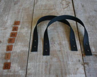 Bag handles leather black 35 CM