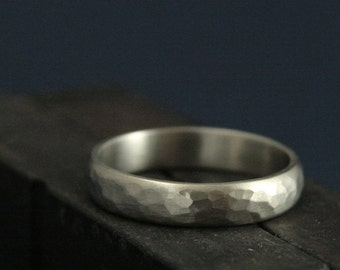 Hammered White Gold Ring--Men's Wedding Band--4mm Wide Perfect Hammered Band--Men's Wedding Ring--Rustic Gold Wedding Band--Choice of Color