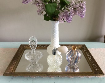 Large gold filigree mirrored vanity tray gold perfume tray bedroom tray