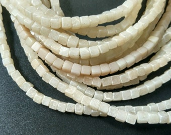 Natural Ivory White stone Cube Beads 4x4x4mm- approx 90pcs/Strand