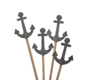 24 Nautical Gray Anchors Cupcake Toppers, Party Picks, Food Picks, Sandwich Picks, Toothpicks - No804