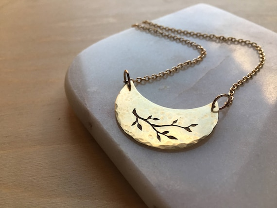 Brass Crescent Moon Necklace. Unique handmade lunar pendant, leaf design