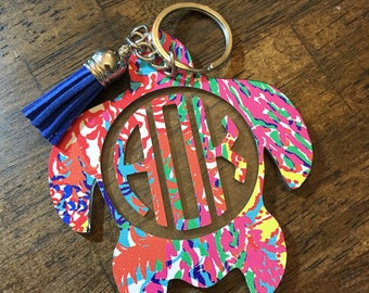 Acrylic Lilly pulitzer inspired keychain, Lilly Pulitzer Car Accessories, Acrylic Keychain, monogram keychain, Sea turtle keychain