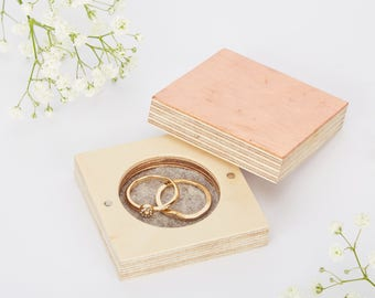 Copper Wedding Ring Box, Proposal Box, Wedding Accessories, Personalised Ring Holder