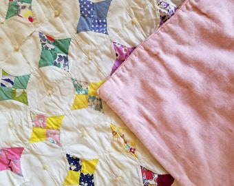 Vintage Handmade Small, Crib Quilt, Pink and White Patchwork, Cotton, Hand Tied, Shabby Beauty