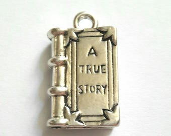 1 antique silver metal book pendant charm