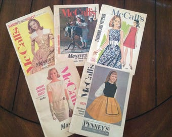 5 Vintage 1961 McCalls 60s Pattern Preview Fashion News Pattern Booklet Advertising Sewing Ephemera Fabric Store Insert