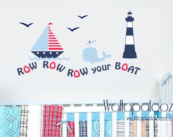 Nautical Wall Decal - Row your boat wall decal set - Sailing wall decal - sailboat wall decal - nursery wall decal - row row row your boat