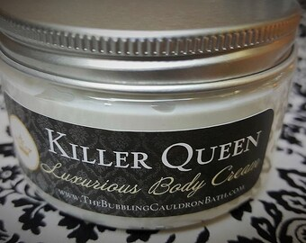 Killer Queen - Luxurious Body Cream - Tempting Jasmine - Dark Patchouli - Red Velvet Flower - Goth Cream -  Goth Lotion