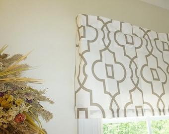 Grey Window Valance - Window Valance - 52 x 16 Valance - Window Treatment - Bordeaux Grey Window Valance with Ruffled Top - 2 Fabric Options