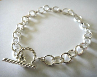 925 Sterling Silver Plated Oval Link Bracelet - Charm - Toggle Clasp - 7 inches