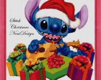 Stitch Christmas, cross stitch pattern, cross stitch Stitch, Stitch pattern, disney, disney pattern, disney cross stitch, PDF pattern