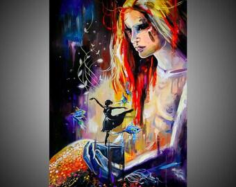 Mermaid fine art painting, Little mermaid painting, Mermaid painting, Mermaid art, Contemporary art, Contemporary wall art