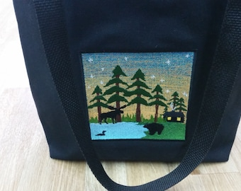 Cabin in the Woods  Embroiderd Tote - (By Cindys Creative Bags VT )