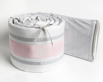 Organic Crib Bumper – Grey/Pink Stripe