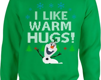 Ugly Christmas Sweater, Frozen Olaf, I Like Warm Hugs, Snowman, Funny Ugly Sweater Party, Ugly Christmas Sweatshirt, Christmas Jumper
