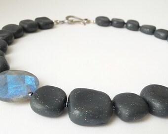 Labradorite Necklace, Necklace Labradorite Silver, Necklace Silver Gray, Necklace Gray Blue, Gray Necklace, Polymer Clay Necklace