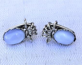 1950s Vintage Blue Moon Glow Silver Tone Earrings Clip On