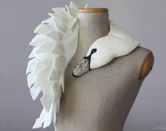Jewelled Swan - felted wool animal scarf, stole / shrug / bridal - silver