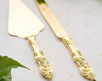 Classico Engraved Wedding Cake Knife Set Gold Wedding Accessories Personalized