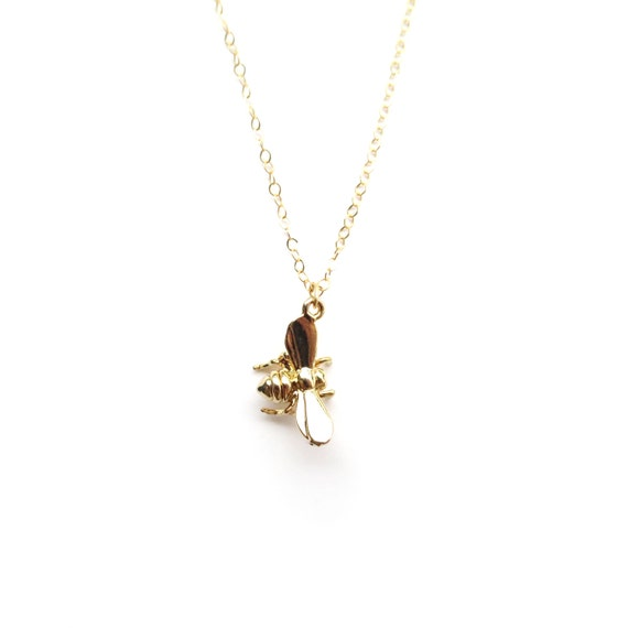 Tiny Gold Bee Charm Necklace
