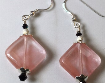 Faceted Natural Pink Crystal, Swarovski Crystal, and Sterling Silver Earrings