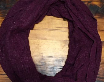 Maroon silk infinity scarf (72x23in)