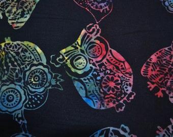 SALE!!  Tonga Owl Batik - Rainbow Owl with Black Background Fabric