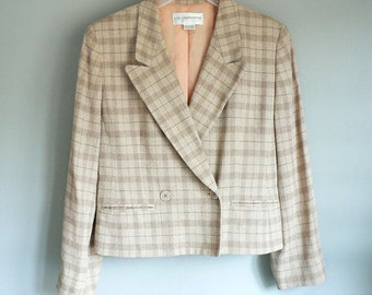 Women Cropped Jacket Light Weight Plaid Tan and Brown