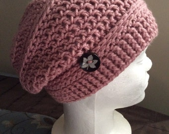 Slouch Hat, Crochet Slouch Hat, Skull Caps and Beanies Rosy Cheeks, Womens Beanie, Mens Beanie,  Crocheted Beanie, Knit Beanie
