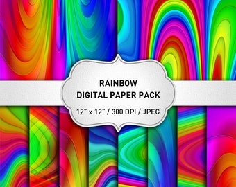 Rainbow Digital Paper, Rainbow Paper, Abstract Paper, Multicolor Rainbow Background, Rainbow Scrapbook Paper, Abstract Background
