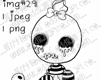 Instant Download Creepy Cute Digital Stamp Coloring Page ~ Big Juicy Tears of Blood & Pain Digi Edition Moesha Image No. 291 by Lizzy Lo
