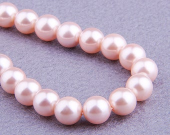 Pink Shell Beads , Natural Shell Beads , 6mm Shell Beads ,8mm Round Beads , 10mm Mother of Pearl Beads , Gemstone Beads 15.5 inch Strand