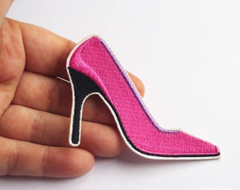 Pink pumps patch stiletto heels applique shoes for women iron on patches vamp 7,5 cm