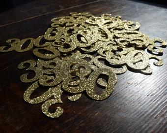 50 Count 30th Birthday Confetti, Gold, Black or Silver Glitter 30th Birthday Decoration, 30th Birthday Table Decorations, Age Cutouts