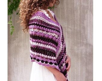 Poncho, Boho Poncho, Fairy poncho, Crochet Poncho, feminine, Wool Poncho, Warm Poncho, Lace Poncho, Stripy Capelet, Cottage chic, OOAK