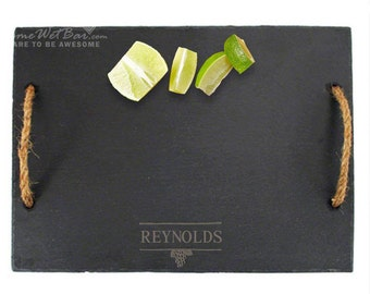 Personalized Slate Cheese Board with Rope Handles