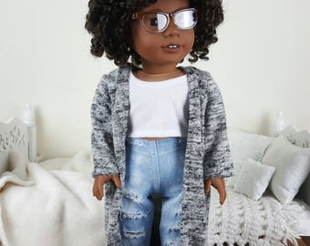 18 inch doll gray cardigan | kimono/ soft sweater like/ duster.