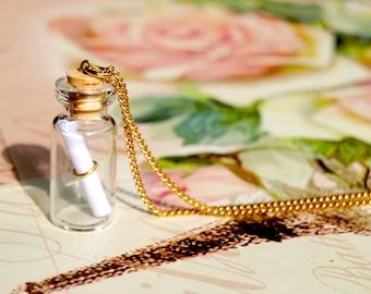 Message in a bottle long necklace - bottle necklace, message necklace, vial necklace, sea inspired necklace