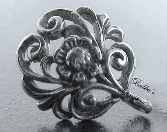 1 Pair (2) Bali Sterling Silver Floral Scroll Earring Posts