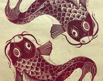 Koi Fish Linoleum Block Print