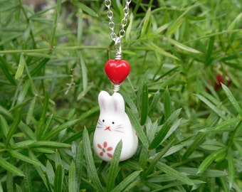 Adorable Bunny Necklace- white rabbit pendant & red heart, on sterling silver chain - love - free shipping USA, girls to womens sizes