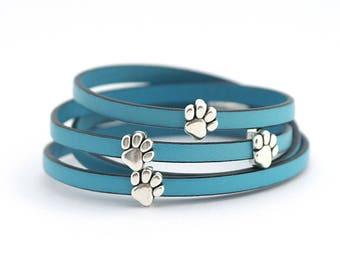 Cat bracelet, cat jewellery, Cat dog lovers Leather Bracelet, Paw Print Bracelet, Cat lovers Jewelry, cat charm, Gift for Animal Lover