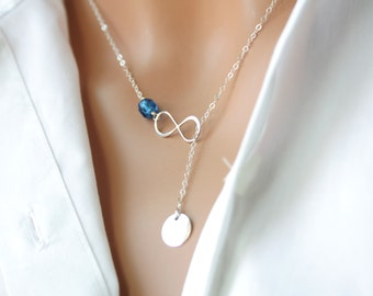 Personalized Infinity Lariat Y necklace with Customized Initial Disk and Birthstone -Sterling Silver, everyday wear, perfect gift for her