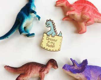 Dino in my pocket hard enamel pin