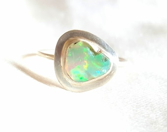 Natural Rough opal ring- october birthstone - opal in silver - opal stackable ring.