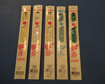 5 POLYESTER zippers-all purpose, Coats and Clark, assorted colors,3-7inch, 2 -14 inch